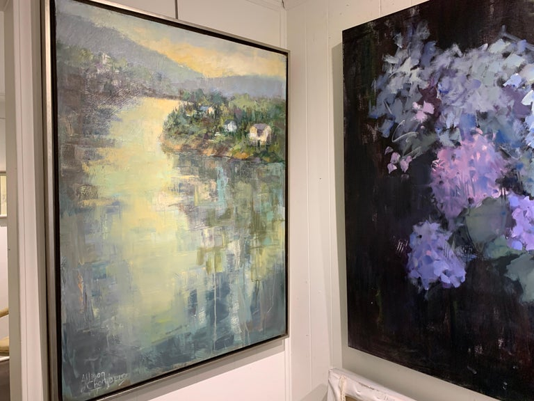 Dawn Light by Allison Chambers, Framed Vertical Landscape Painting For Sale 1