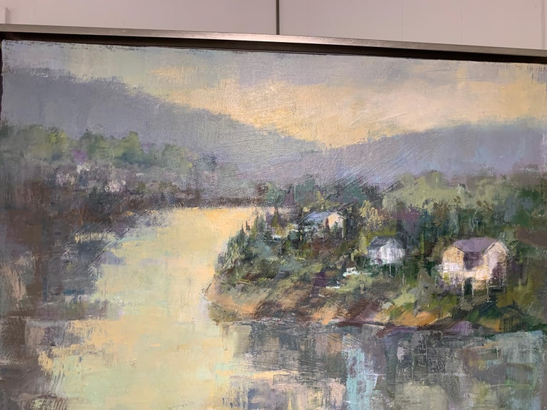 Dawn Light by Allison Chambers, Framed Vertical Landscape Painting For Sale 3