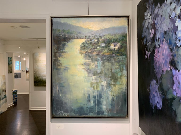 Dawn Light by Allison Chambers, Framed Vertical Landscape Painting For Sale 6