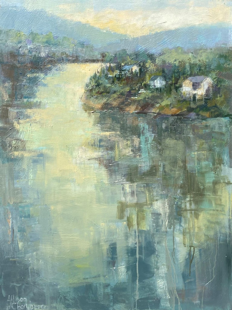 'Dawn Light' is a framed abstract landscape oil on canvas painting of medium size, created by American artist Allison Chambers in 2020. Featuring a palette made of a variety of colors such as blue, green, brown, orange, pink and grey among others.