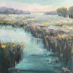 Elle's Respite by Allison Chambers, Framed Impressionist Landscape Oil Painting
