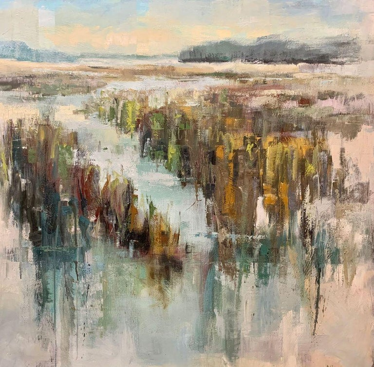 'Finding Home' is a large framed Impressionist oil on canvas painting of square format created by American artist Allison Chambers in 2020. Featuring a palette made of green, blue, turquoise, orange and brown tones among others, this painting