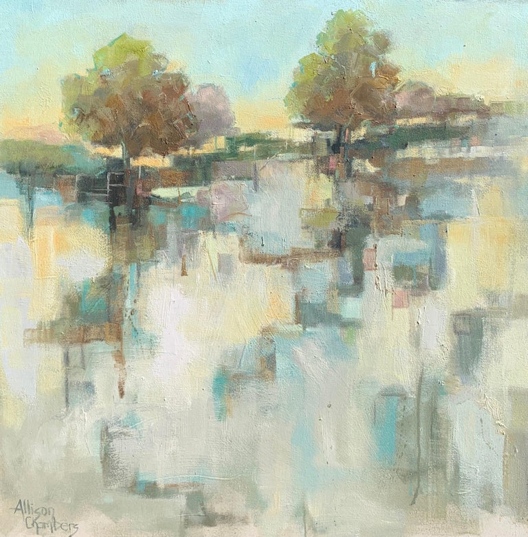 'Hand in Hand' is a large Impressionist oil on canvas painting of vertical format created by American artist Allison Chambers in 2021. Featuring a palette made of green, blue, blush, cream and brown tones among others, this painting depicts a marsh
