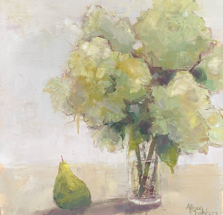 'Love of Mine' is a framed oil on canvas Impressionist floral painting of square format created by American artist Allison Chambers in 2021. Featuring a palette made of white, green, grey and beige tones, the painting depicts an exquisite bouquet of