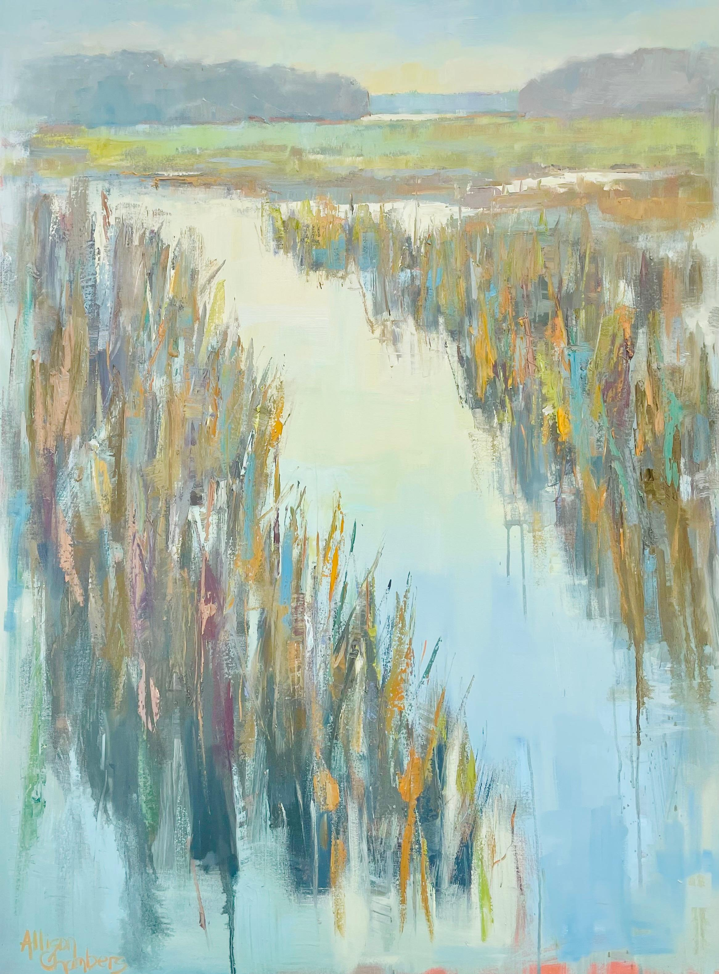 On and On by Allison Chambers, Large Framed Impressionist Landscape Painting