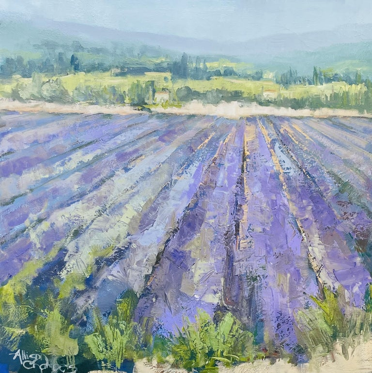 'On My Way' is a framed Impressionist oil on canvas painting created by American artist Allison Chambers in 2021. Featuring a palette made of green, blue, neutral and purple tones, the painting depicts a vineyard leading our eye to the purple-shaded