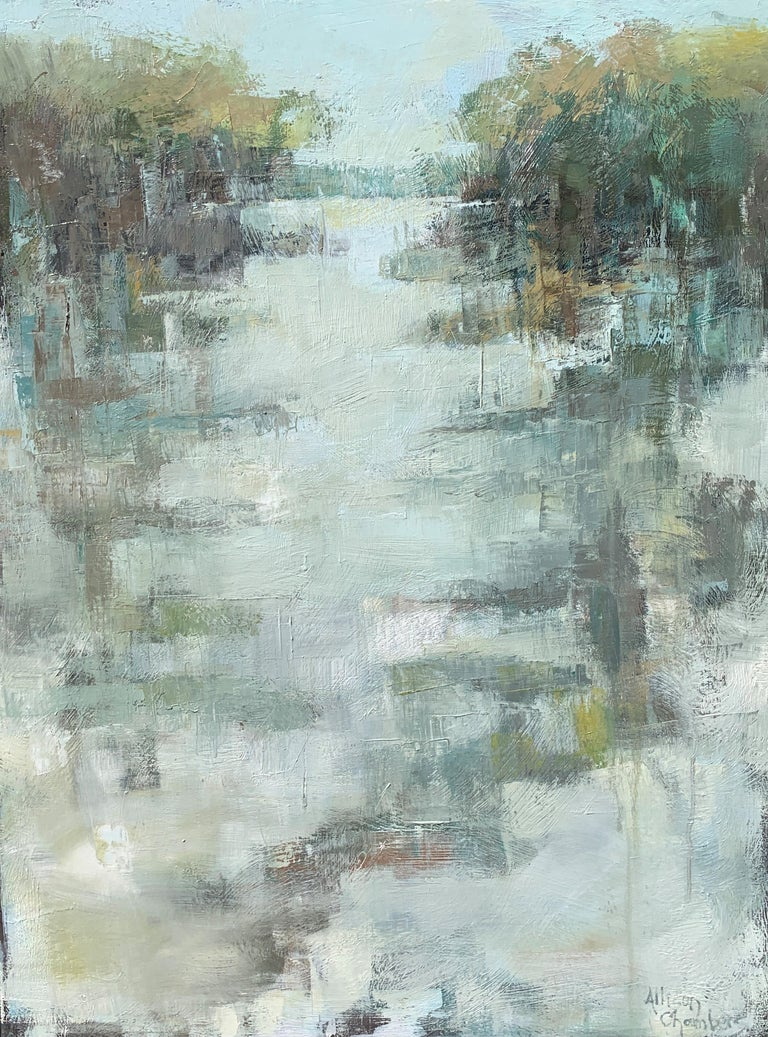 'Peace Be to You' is a large framed Impressionist oil on canvas painting of vertical format created by American artist Allison Chambers in 2021. Featuring a palette made of green, blue, blush, cream and brown tones among others, this painting