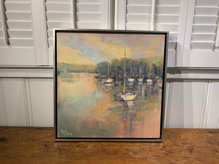Peaceful Harbor by Allison Chambers, Framed Impressionist Oil Painting 2