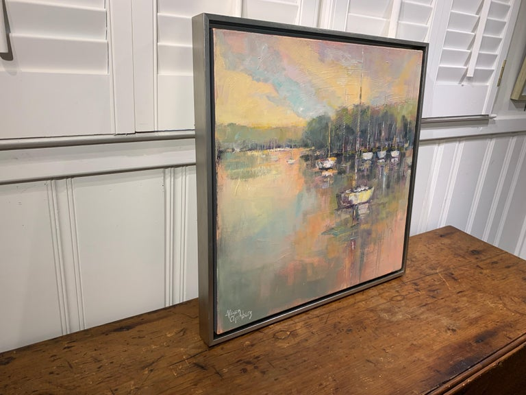 Peaceful Harbor by Allison Chambers, Framed Impressionist Oil Painting 3