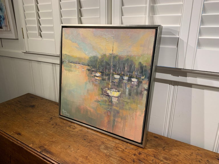 Peaceful Harbor by Allison Chambers, Framed Impressionist Oil Painting 4