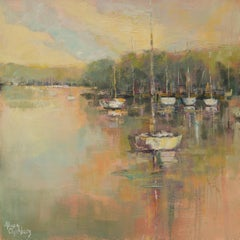 Peaceful Harbor by Allison Chambers, Framed Impressionist Oil Painting