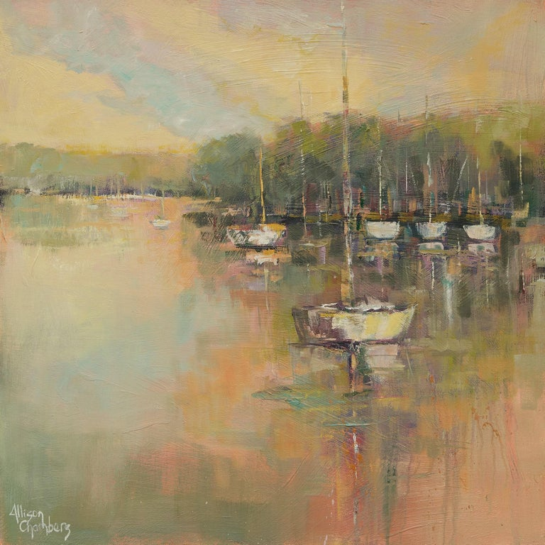 'Peaceful Harbor' is a framed Impressionist oil on panel painting of square format created by American artist Allison Chambers in 2020. Featuring a palette made of green, purple, brown and soft pink tones among many others, this painting depicts a