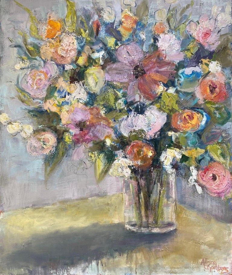 Rhythmn and Blues, original 36x30 impressionist floral still life - Painting by Allison Chambers