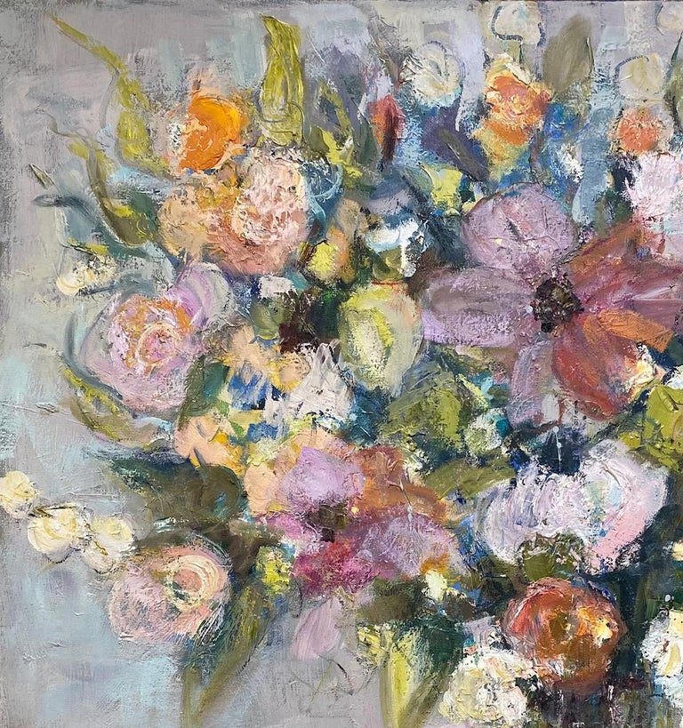 Rhythmn and Blues, original 36x30 impressionist floral still life - Impressionist Painting by Allison Chambers