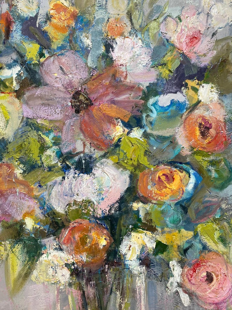 From teal to cotton candy pink to apricot, the colors of this original impressionist floral still life exude a freshness and desire to appreciate natures' bounty.  Artist Allison Chambers has orchestrated her oil painting as with rhythmn and blues,