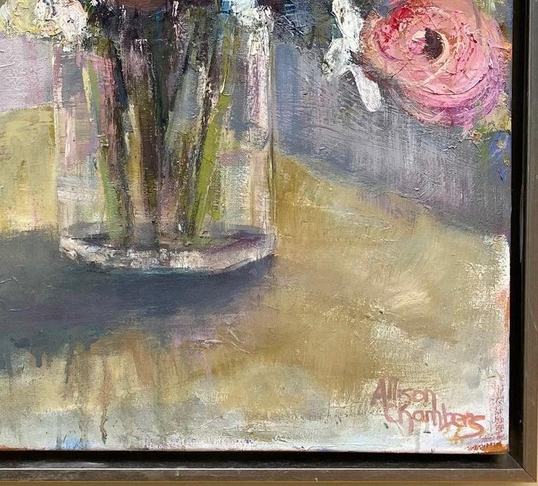 Rhythmn and Blues, original 36x30 impressionist floral still life For Sale 2