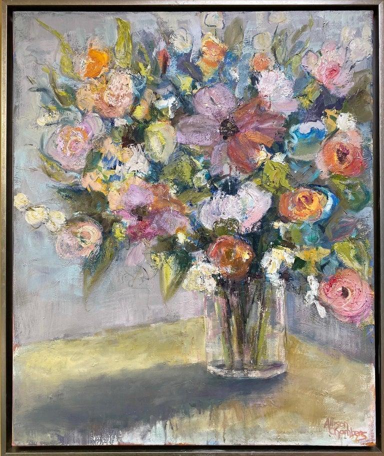 Allison Chambers Still-Life Painting - Rhythmn and Blues, original 36x30 impressionist floral still life