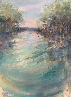 Rippling Waters by Allison Chambers, Framed Vertical Landscape Painting