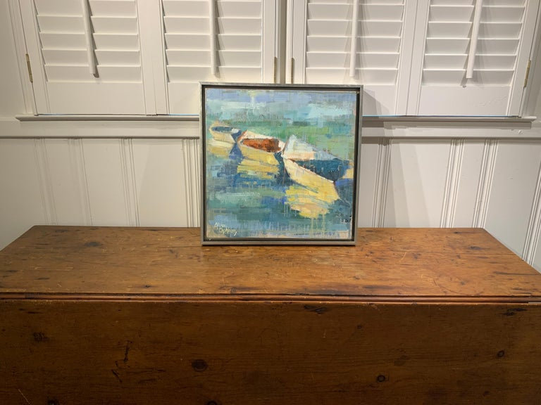 Row Your Boat by Allison Chambers, Framed Oil on Canvas Impressionist Painting For Sale 1