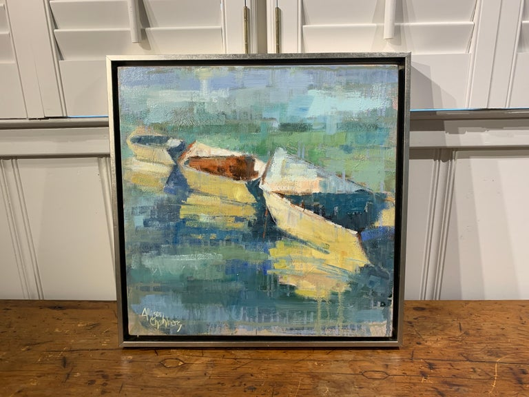 Row Your Boat by Allison Chambers, Framed Oil on Canvas Impressionist Painting For Sale 2