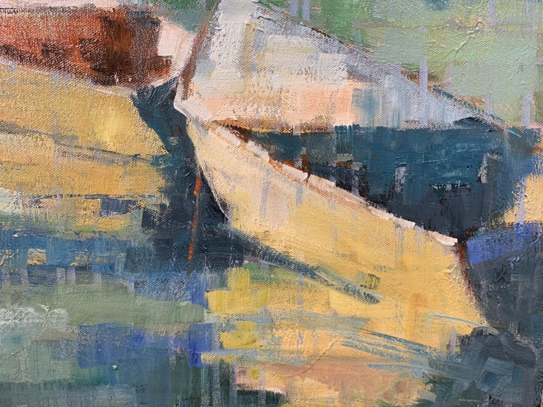 Row Your Boat by Allison Chambers, Framed Oil on Canvas Impressionist Painting For Sale 4