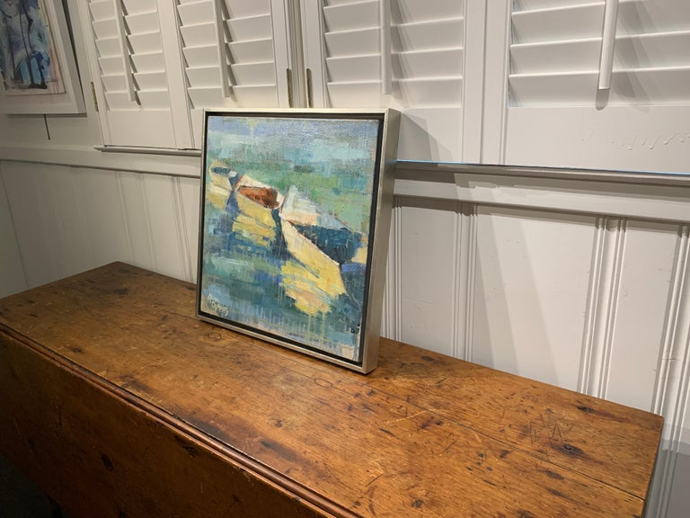 Row Your Boat by Allison Chambers, Framed Oil on Canvas Impressionist Painting For Sale 7