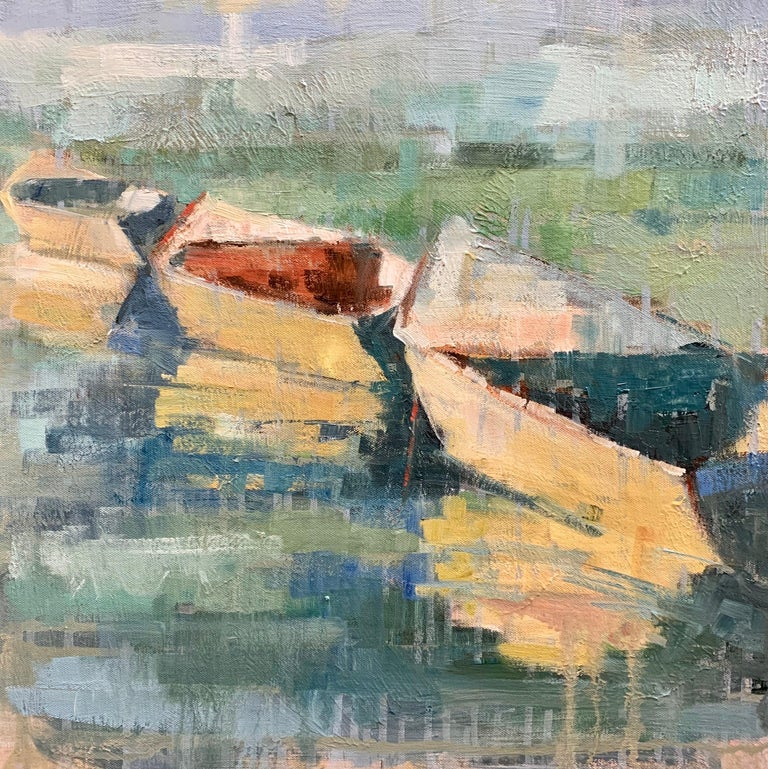 'Row Your Boat' is a framed Impressionist oil on canvas painting of square format created by American artist Allison Chambers in 2020. Featuring a palette made of blue, turquoise, green, orange and yellow tones among others, this painting depicts