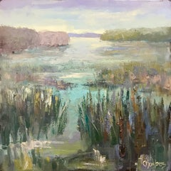 Serene by Allison Chambers, Impressionist Oil on Canvas Landscape Painting