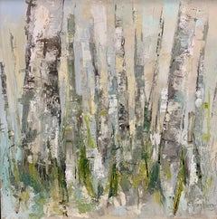 Silent Woods by Allison Chambers, Framed Oil on Canvas Landscape Painting