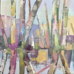 Soft Roots by Allison Chambers, Small Framed Abstract Oil on Canvas Painting