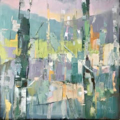 Stillness, Allison Chambers 2018 Framed Oil on Canvas Abstract Trees Painting