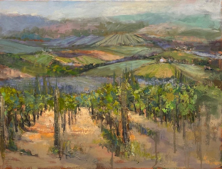 The Hills Are Alive, original 30x40 impressionist Italian landscape - Painting by Allison Chambers