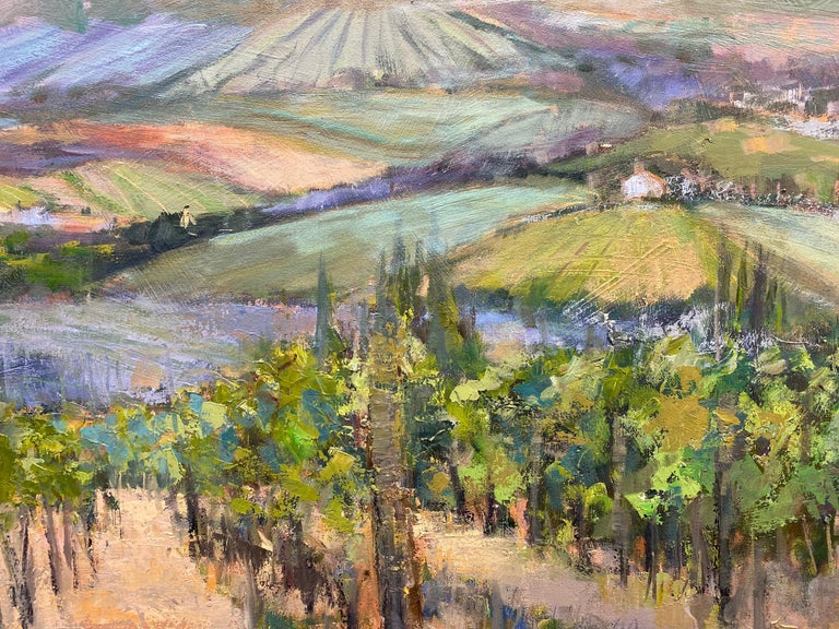 The Hills Are Alive, original 30x40 impressionist Italian landscape - Impressionist Painting by Allison Chambers