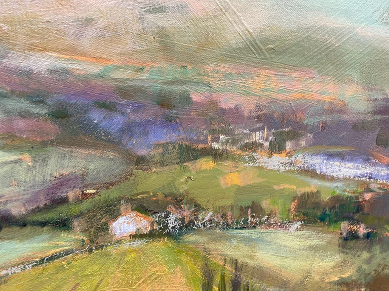 The Hills Are Alive, original 30x40 impressionist Italian landscape - Brown Landscape Painting by Allison Chambers