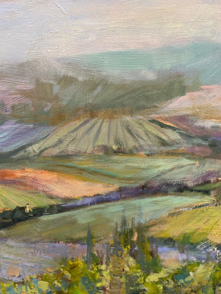 The Hills Are Alive rings true to all wine lovers with a passion for  exploring the earthy, elegant world of wine cultivating and collecting North Carolina artist Allison Chambers' extensive use of  palette knife lifts the oil paint above the