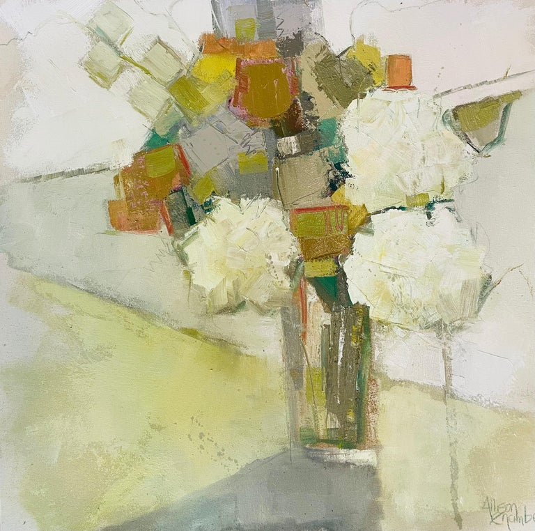 'Wild Thing' is an oil on canvas Impressionist floral painting of square format created by American artist Allison Chambers in 2021. Featuring a palette made of white, green, gold, grey and beige tones, the painting depicts an exquisite bouquet of