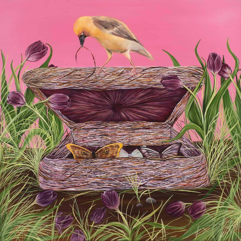 Grief Box, pink figurative painting with bird and butterflies, landscape