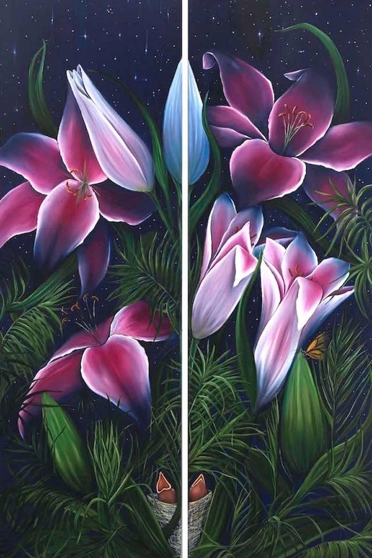 Star Gazers, oil on canvas, 78 x 42 inches. Diptych flower painting