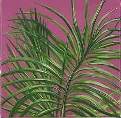 Tropical Study 3, oil on canvas, 10 x 10 inches. Plant painting, purple