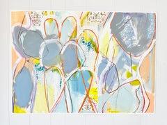 Twist + Turn III, Abstract Acrylic Mixed Media Figurative Nude on Paper, Signed