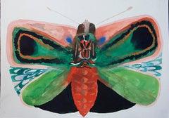 Allison Schulnik, Red Loch Bone #3, 2017, Gouache on paper, 15 x 11 in
