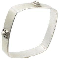 Allison Stern Silver Square Bracelet Architectural Design
