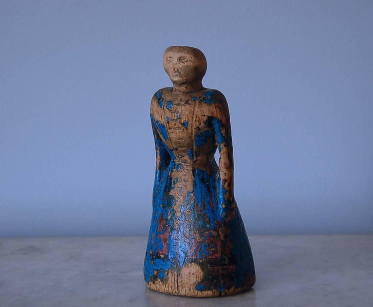 19th century Allmoge wooden doll, circa 1800, origin: Jämtland, Sweden