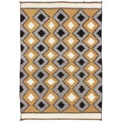 Allover Tribal Navajo Kilim with Gold, Gray and Black