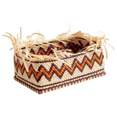 Allow Yourself Straw Braided Basket Rectangular