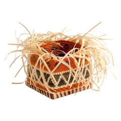 Allow Yourself Straw Braided Basket Square