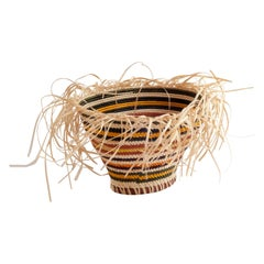 Allow Yourself Straw Braided Basket Striped Oval