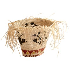 Allow Yourself Straw Braided Basket with Triangles