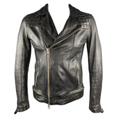 ALLSAINTS Size M Black Quilted Leather Motorcycle Jacket