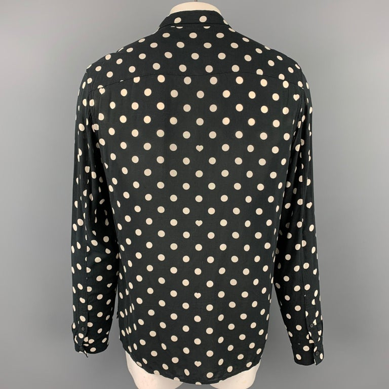 ALLSAINTS Size XL Black & White Polka Dot Viscose Button Up Long Sleeve Shirt In Good Condition For Sale In San Francisco, CA